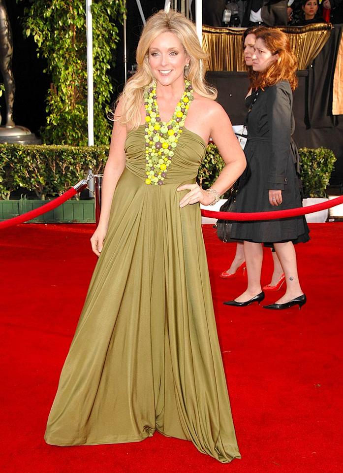 """Jane Krakowski's (""""30 Rock"""") dress kind of reminds us of something Carmen Miranda might wear. All Jane needs is a fruity turban to complete the look. Steve Granitz/<a href=""""http://www.wireimage.com"""" target=""""new"""">WireImage.com</a> - January 27, 2008"""