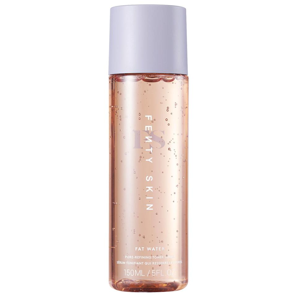 """<h3>Fenty Skin Fat Water Pore-Refining Toner Serum</h3><br>This thick liquid pulls double duty as both a toner and a serum; you just pour it into your hand then pat it on your skin, no cotton pads needed. Witch hazel and lemon myrtle extract help tighten the look of pores right away, while niacinamide and vitamin C–loaded Barbados cherry add brightness over time.<br><br><strong>Fenty Skin</strong> Fat Water Pore-Refining Toner Serum, $, available at <a href=""""https://go.skimresources.com/?id=30283X879131&url=https%3A%2F%2Fwww.sephora.com%2Fproduct%2Ffenty-skin-fat-water-pore-refining-toner-serum-P467248"""" rel=""""nofollow noopener"""" target=""""_blank"""" data-ylk=""""slk:Sephora"""" class=""""link rapid-noclick-resp"""">Sephora</a>"""