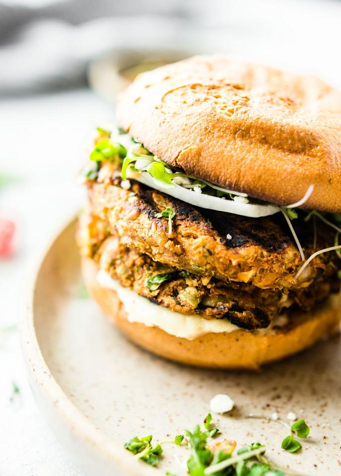 """<p>It's basically science that vegetarians and carnivores alike will eat anything in burger form. This flavorful patty with a decent amount of spice tastes delicious thrown on the grill or in the oven.</p><p><a class=""""body-btn-link"""" href=""""https://www.cottercrunch.com/grilled-moroccan-cauliflower-chickpea-burgers/"""" target=""""_blank"""">Get the recipe</a></p><p><em>Per serving: 328 calories, 14 g fat (3 g saturated), 41 g carbs, 7 g sugar, 431 mg sodium, 7 g fiber, 9 g protein</em></p>"""