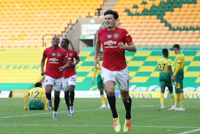 Solskjaer called for the attacking cavalry, but had centre-back Harry Maguire to thank for securing United's progress at Carrow Road (Manchester United via Getty Images)