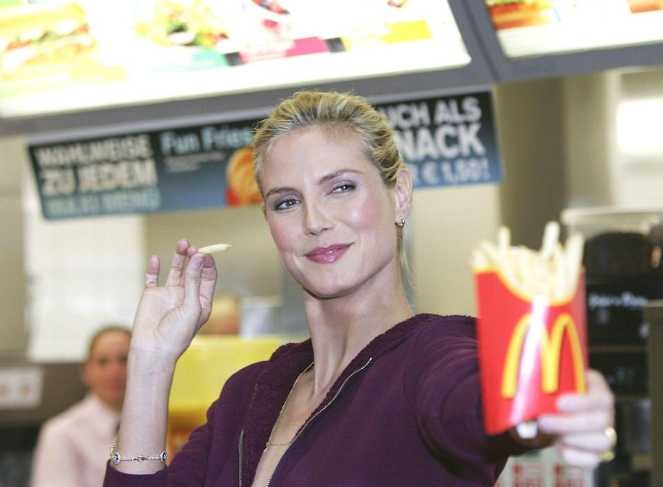 <p>Back in 2008, just four years after the release of <em>Supersize Me</em>, supermodel Heidi Klum promoted McDonald's Germany's 'Snack Deluxe' menu addition in a commercial during which she excitedly eats a chicken wrap. </p>
