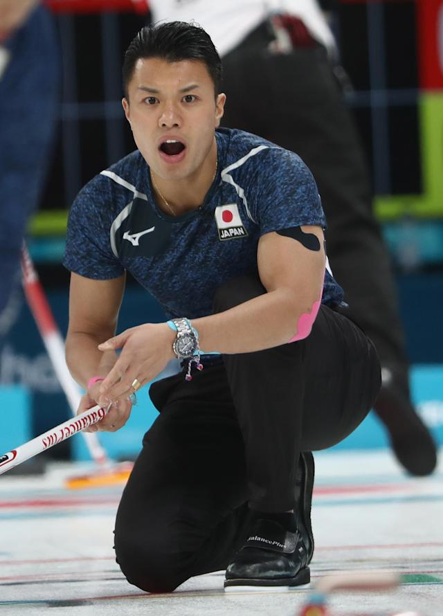 <p>Tsuyoshi Yamaguchi of Japan competes in the Curling Men's Round Robin Session 5 held at Gangneung Curling Centre on February 16, 2018 in Gangneung, South Korea. </p>