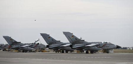 German Tornado jets are pictured on the ground at the air base in Incirlik