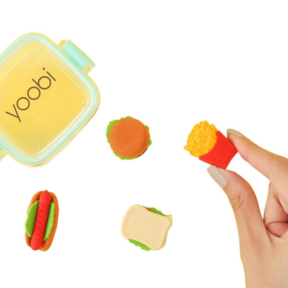 "<strong>Buy It! </strong>Yoobi 3D fast-food eraser set, $6 for 4; <a href=""https://click.linksynergy.com/deeplink?id=93xLBvPhAeE&mid=43176&murl=https%3A%2F%2Fwww.urbanoutfitters.com%2Fshop%2Fyoobi-fast-food-eraser-set&u1=PEO%2CShopping%3ABestBacktoSchoolMerchandise%2Caapatoff%2CUnc%2CGal%2C7223639%2C201908%2CI"" target=""_blank"" rel=""nofollow"">urbanoutfitters.com</a>"