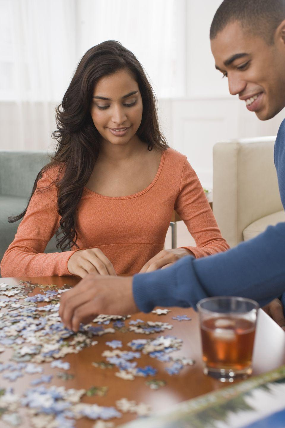<p>There's nothing more relaxing than working on a puzzle, right? This is a great option when you want to have a cozy at-home date night. </p>