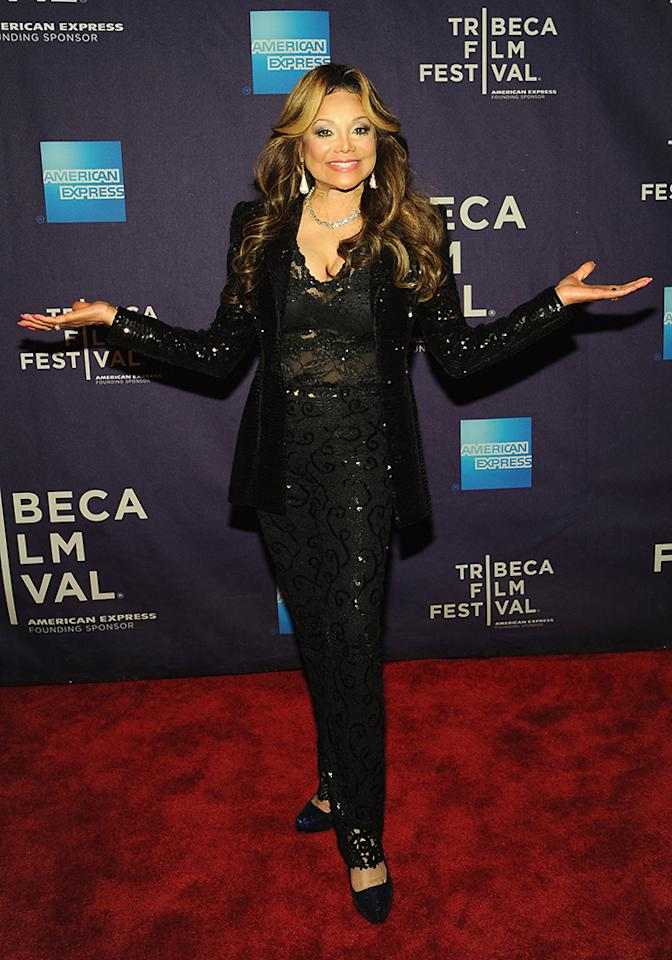 "NEW YORK, NY - APRIL 20:  Executive Producer Latoya Jackson attends the ""Dancing In Jaffa"" World Premiere at the  AMC Loews Village 7 during the 2013 Tribeca Film Festival on April 20, 2013 in New York City.  (Photo by Simon Russell/Getty Images)"
