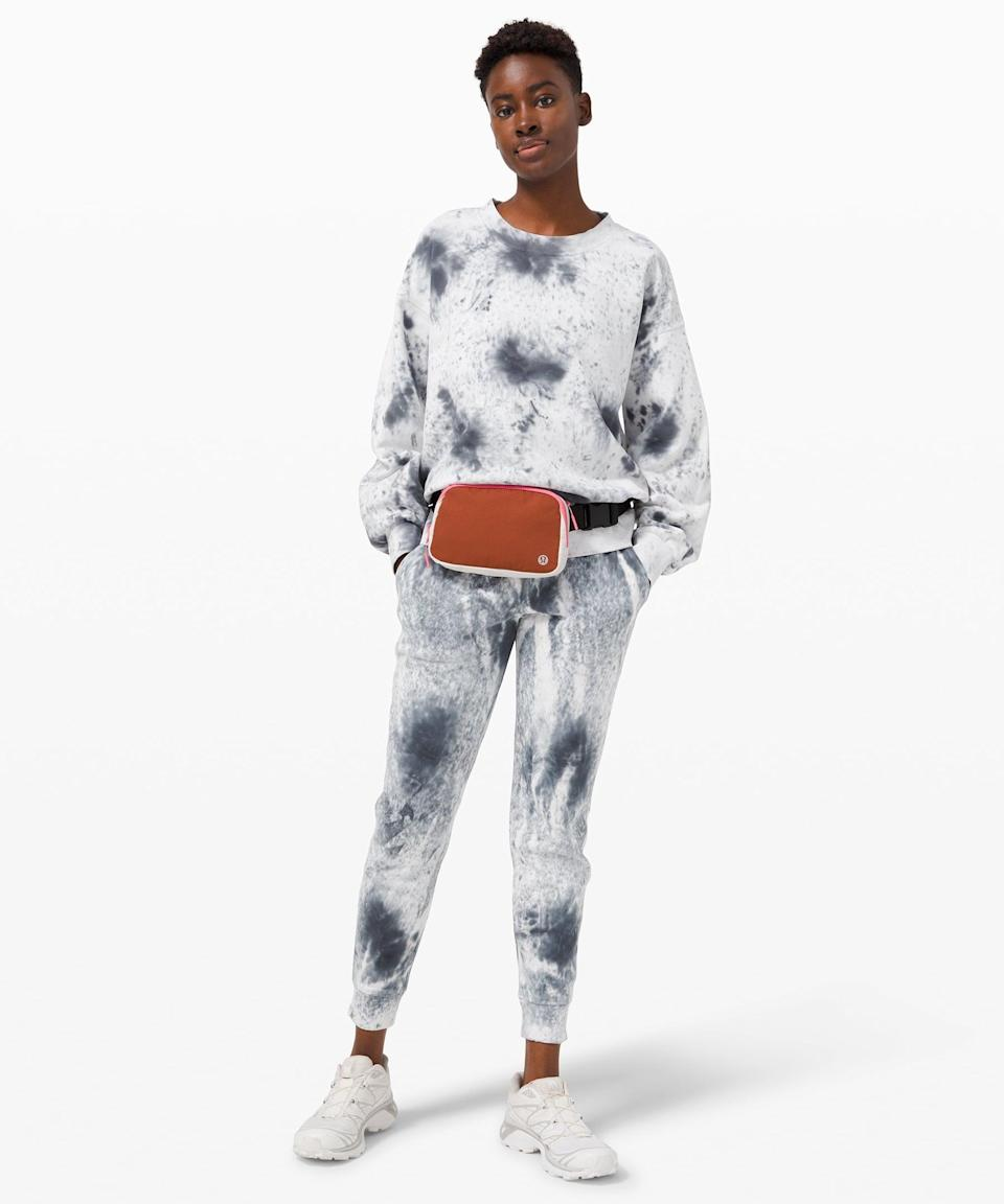 <p>We couldn't do a matching set roundup without tie-dye. This <span>Lululemon Perfectly Oversized Crew</span> ($118) and <span>Warm Down Jogger</span> ($118) is so cozy.</p>