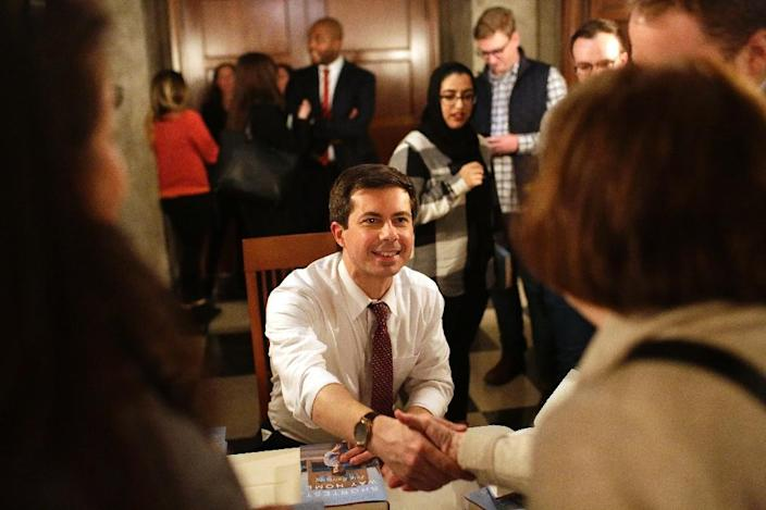 South Bend, Indiana Mayor Pete Buttigieg, a 37-year-old military veteran, is testing a 2020 presidential campaign, and reaction in early voting states has been increasingly positive (AFP Photo/Joshua Lott)