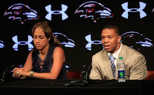 In 2014, NFL player Ray Rice knocked his now-wife, Janay Palmer, unconscious, as seen in viral video footage. (Photo: Getty Images)