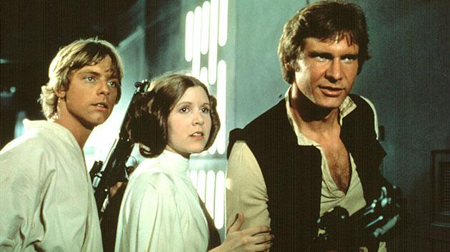 Mark Hamill, Carrie Fisher and Harrison Ford in 1977's 'Star Wars'