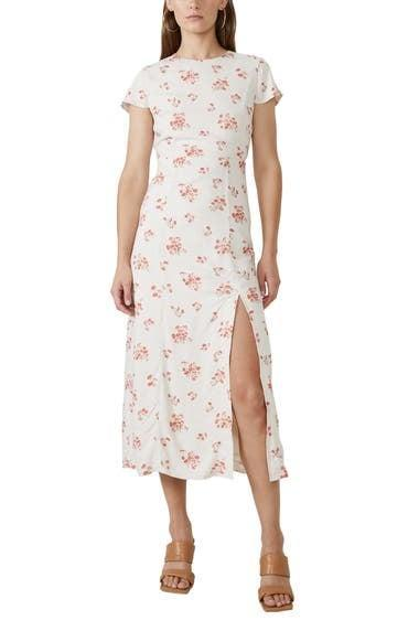 <p>The slit of this <span>Bardot Floral Sheath Midi Dress</span> ($119) is flirty and flattering.</p>