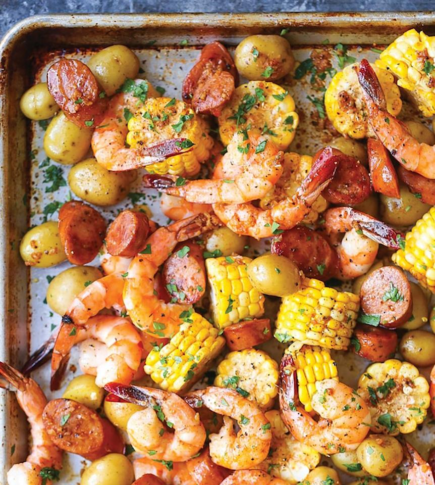 """<p>You don't have to boil anything to make this shrimp boil. Old Bay seasoning is the secret to its addictive Cajun flavor. Get the recipe <a rel=""""nofollow"""" href=""""http://damndelicious.net/2017/02/13/sheet-pan-shrimp-boil?mbid=synd_yahoofood"""">here</a>.</p>"""
