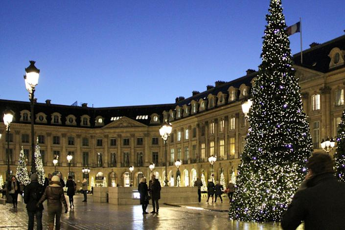 Early evening Place Vendome with Christmas tree in December