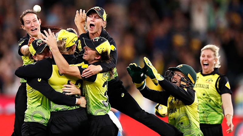 Pictured here, Australia celebrates its fifth Women's T20 World Cup final victory.