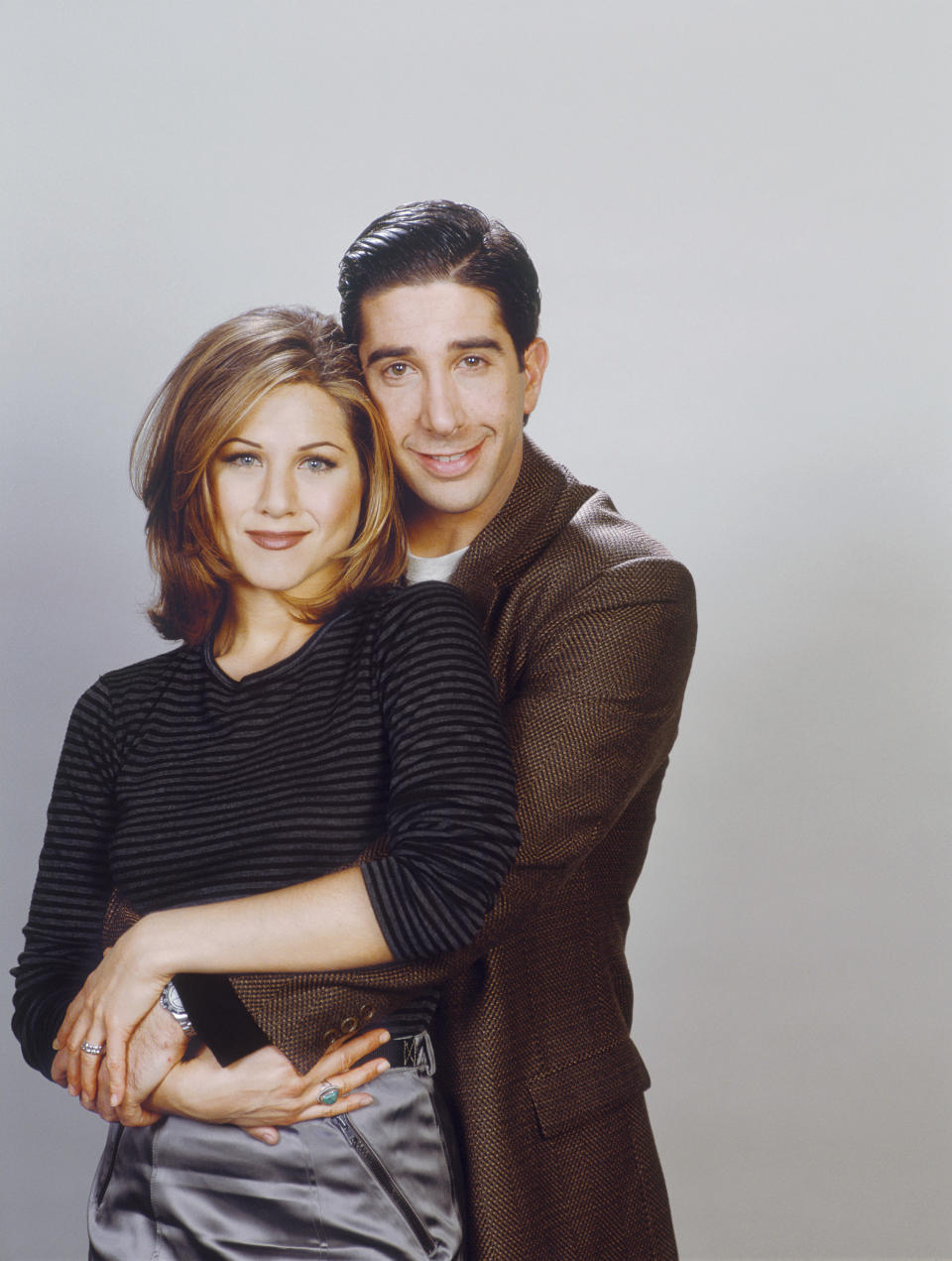 FRIENDS -- Pictured: (l-r) Jennifer Aniston as Rachel Green, David Schwimmer as Ross Geller  (Photo by NBCU Photo Bank/NBCUniversal via Getty Images via Getty Images)