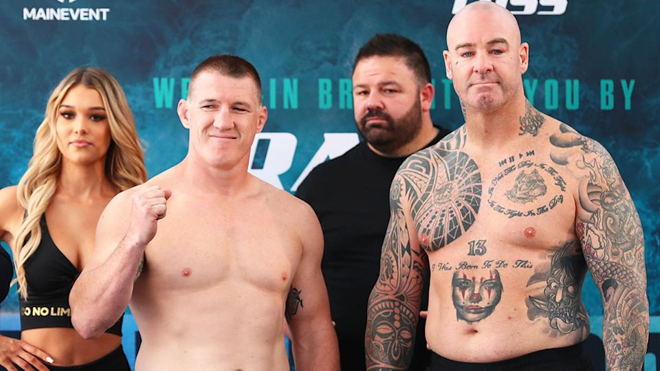 Pictured here, Paul Gallen and Lucas Browne at the weigh-in before their blockbuster bout.
