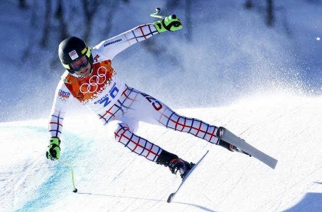 Krystof Kryzl of the Czech Republic skis during the downhill run of the men's alpine skiing super combined event at the 2014 Sochi Winter Olympics at the Rosa Khutor Alpine Center February 14, 2014. REUTERS/Ruben Sprich (RUSSIA - Tags: SPORT SKIING OLYMPICS)