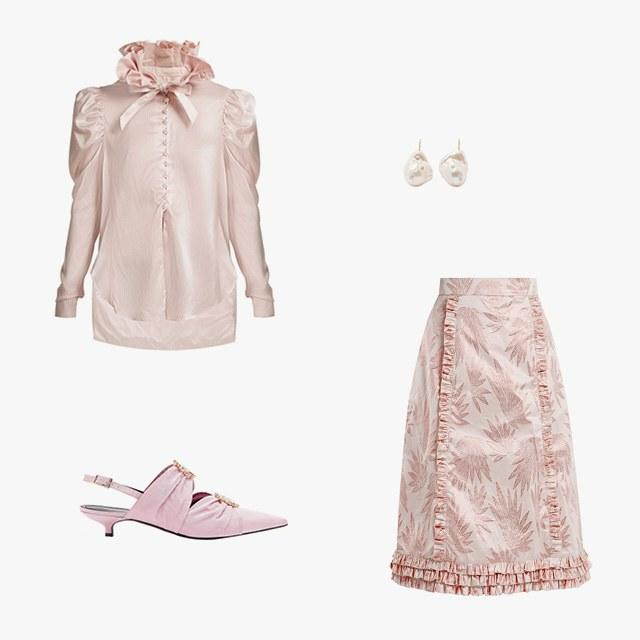 Hillier Bartley pinstripe exaggerated ruffle-collar silk shirt, $1,283, matchesfashion.com; The Vampire's Wife Cate leaf-jacquard ruffle-trimmed skirt, $386, matchesfashion.com; Erdem Chelsea embellished moiré slingback pumps, $448, matchesfashion.com; Mizuki 14k gold pearl and diamond earrings, $2,350, net-a-porter.com