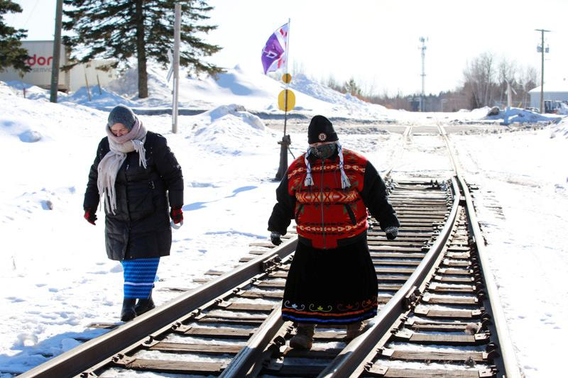 Protest in support of the indigenous Wet'suwet'en Nation's hereditary chiefs,in Moncton, New Brunswick