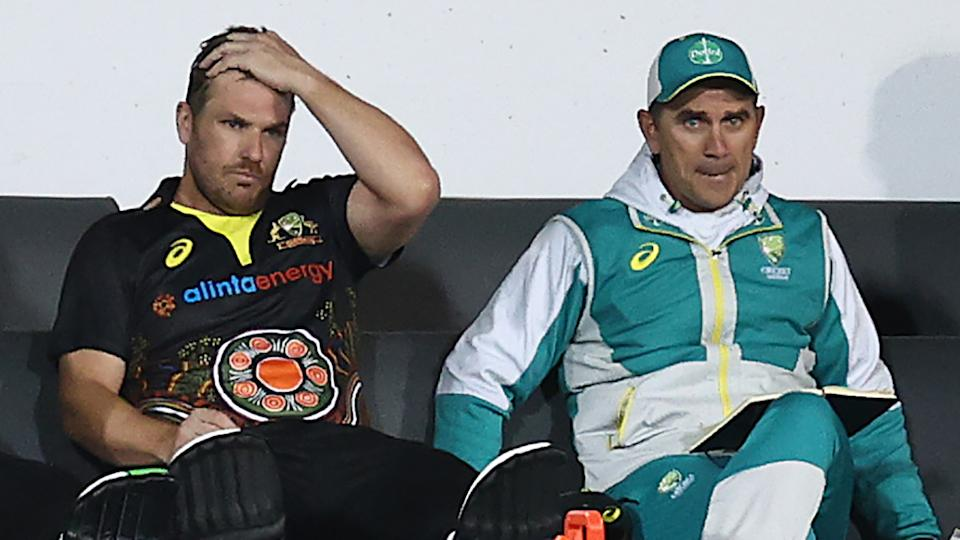 Aaron Finch will be sent for scans after battling problems with his hips and glute on Friday night. (Photo by Ryan Pierse - CA/Cricket Australia via Getty Images)