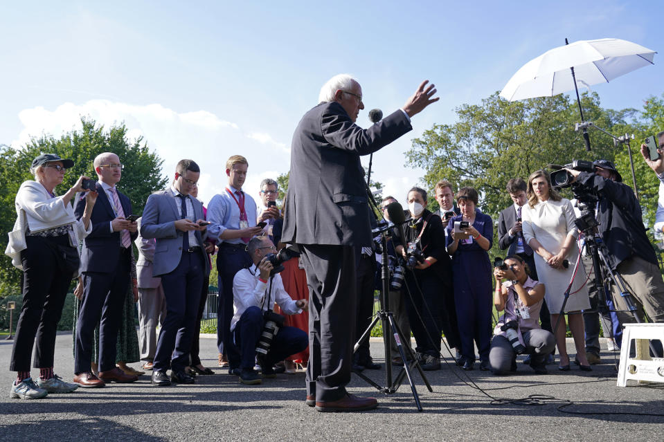 Sen. Bernie Sanders, I-Vt., talks to reporters outside the West Wing of the White House in Washington, Monday, July 12, 2021, following his meeting with President Joe Biden. (AP Photo/Susan Walsh)