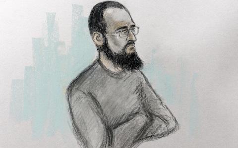 Court artist sketch by Elizabeth Cook of Husnain Rashid in the dock - Credit: Elizabeth Cook /PA