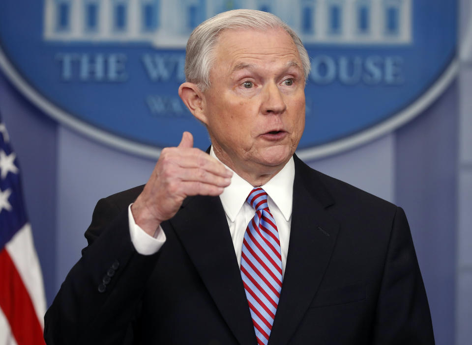 FILE - In this March 27, 2017, file photo, Attorney General Jeff Sessions speaks in the Brady Press Briefing Room of the White House in Washington. An agreement negotiated under the Obama administration to overhaul the troubled Baltimore Police Department will go ahead despite objections from the Trump administration. Sessions is warning that the consent decree may
