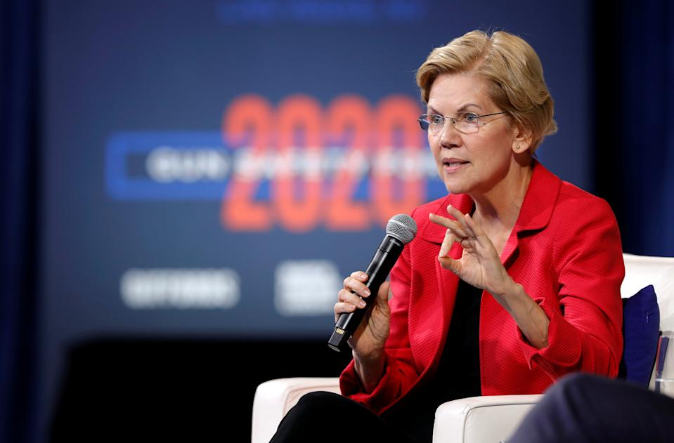 U.S. Democratic presidential candidate Senator Elizabeth Warren (D-MA) responds to a question during a forum held by gun safety organizations the Giffords group and March For Our Lives in Las Vegas, Nevada, U.S. October 2, 2019. REUTERS/Steve Marcus