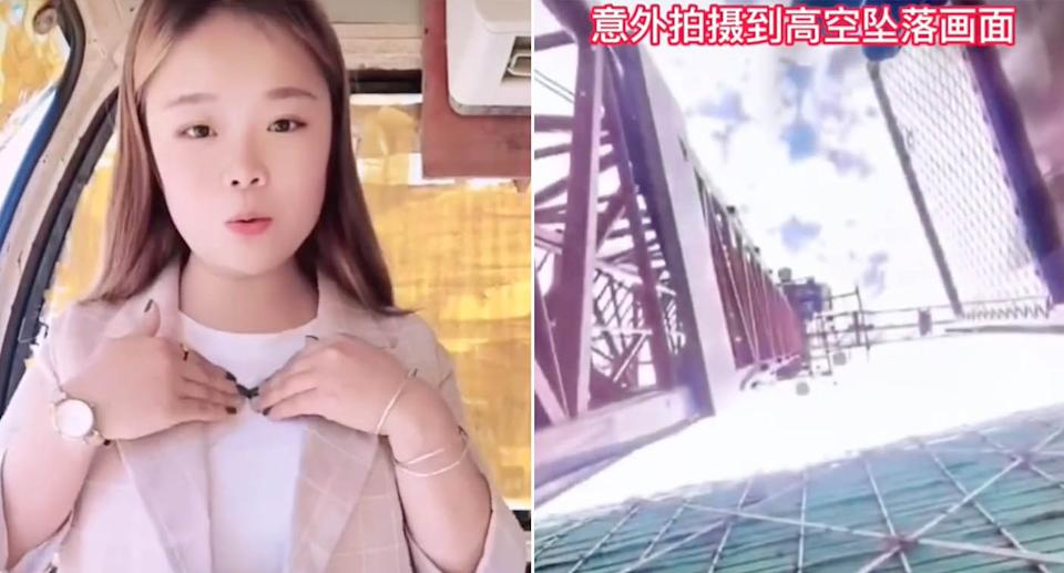The Chinese influencer fell to her death after falling almost 49 metres from a crane.