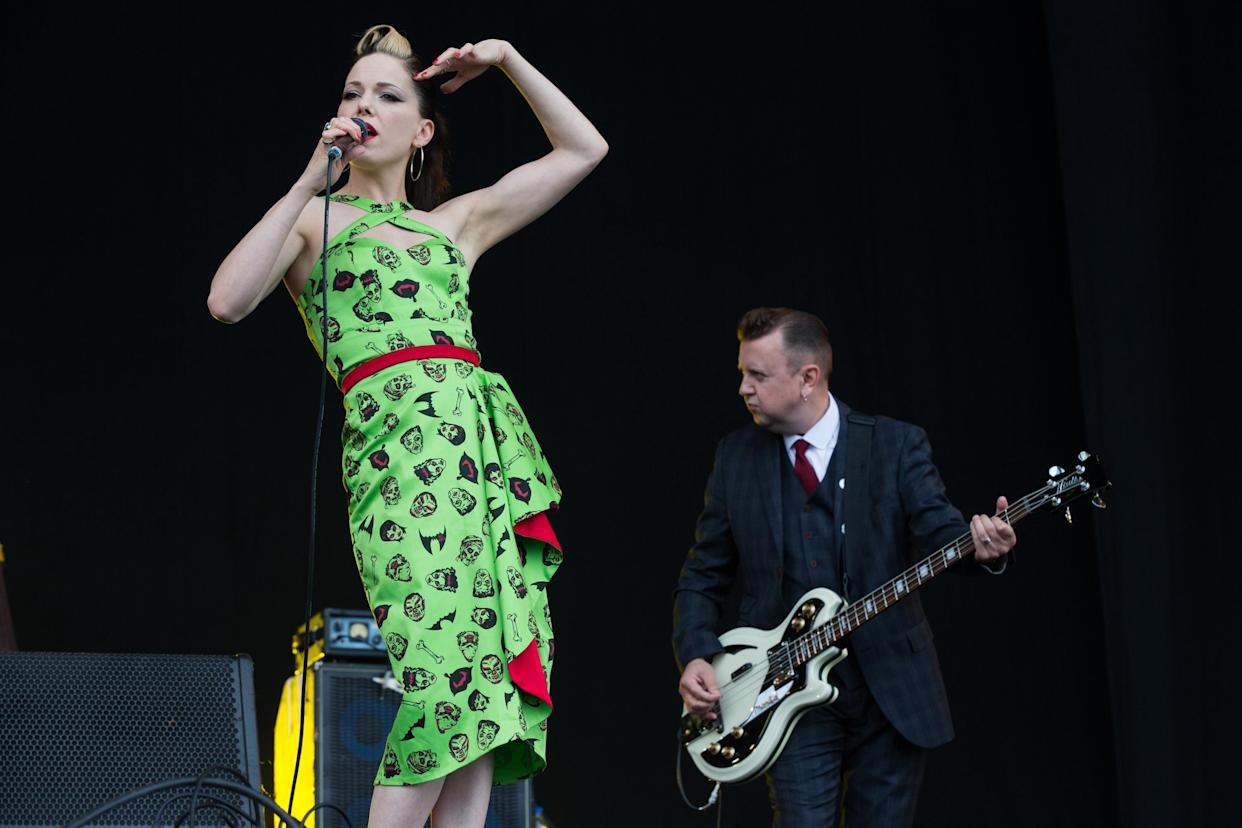Singer Imelda May performs at the Isle of Wight Festival on Sunday, June 14, 2015 in Newport, Isle of Wight, England. (Photo by Jim Ross/Invision/AP)