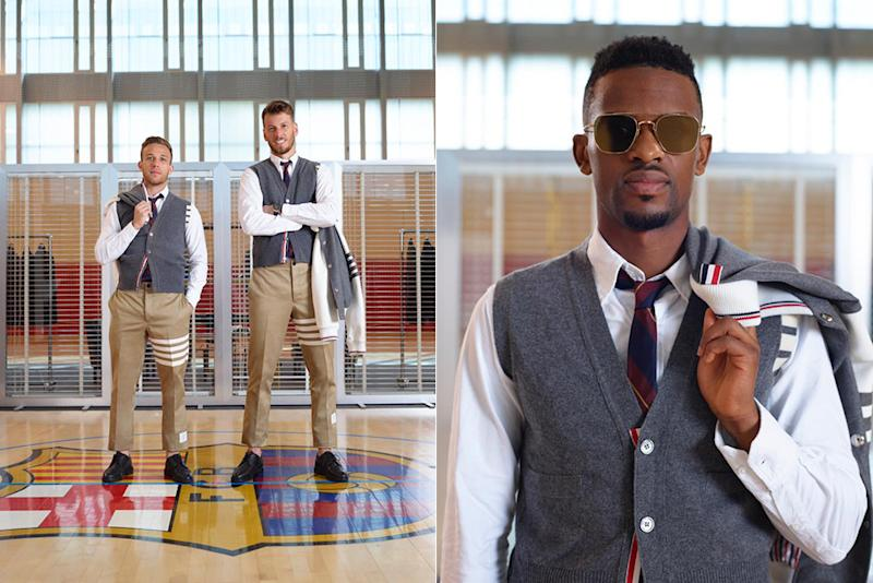 FC Barcelona team members in their away game kits by Thom Browne