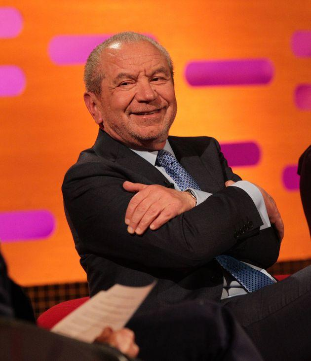 Guest Lord Alan Sugar during filming of The Graham Norton Show