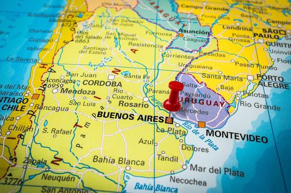 Argentina map with a pushpin in Buenos Aires