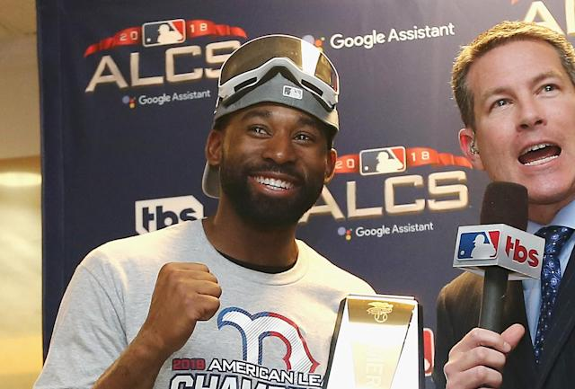 Jackie Bradley Jr.'s three ALCS hits were so important that he won the ALCS MVP award. (Photo by Elsa/Getty Images)