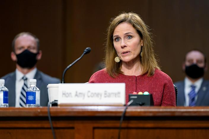 Despite comments by Republicans to the contrary, Democratic members of the Senate Judiciary Committee have shied away from pressing Supreme Court nominee Amy Coney Barrett about the impact her Catholicism might have on her rulings. Barrett is shown here at Tuesday's confirmation hearing before the panel. (Photo: (AP Photo/Patrick Semansky, Pool))