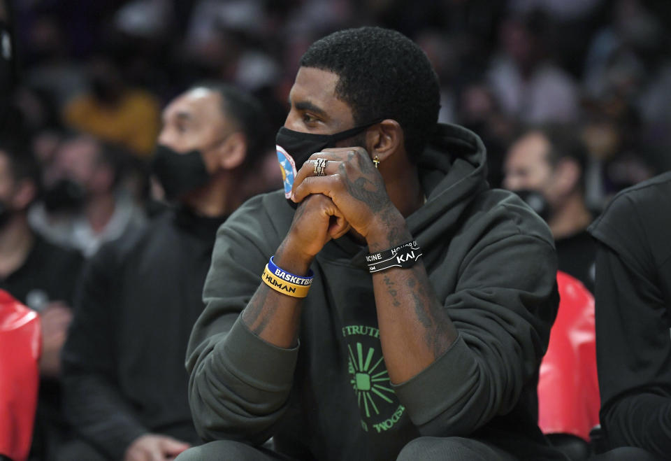 Brooklyn Nets superstar Kyrie Irving is sitting on the sidelines to start the season. (Kevork Djansezian/Getty Images)