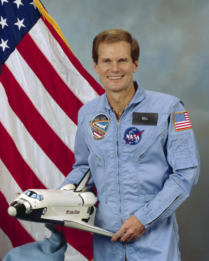 This Oct. 25, 1985 photo made available by NASA shows U.S. Rep. Bill Nelson of Florida, STS 61-C payload specialist. In a May 2021 interview, Nelson, NASA's new boss, doesn't consider himself an astronaut, even though he spent six days orbiting Earth in 1986 aboard space shuttle Columbia - as a congressman. (NASA via AP)