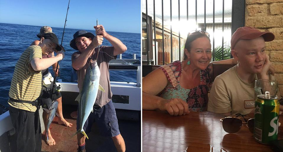 Left, Josh is seen deep sea fishing with his dad Craig. Right, he is seen at a table with his mum. Source: supplied
