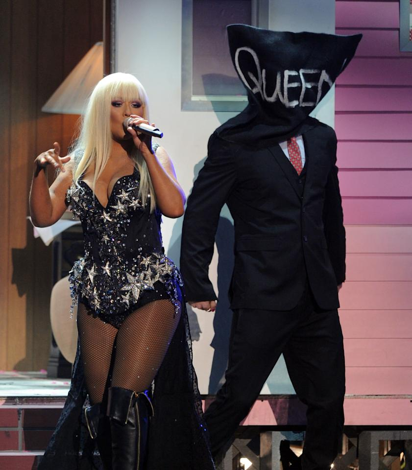LOS ANGELES, CA - NOVEMBER 18:  Singer Christina Aguilera performs onstage during the 40th American Music Awards held at Nokia Theatre L.A. Live on November 18, 2012 in Los Angeles, California.  (Photo by Kevin Winter/Getty Images)