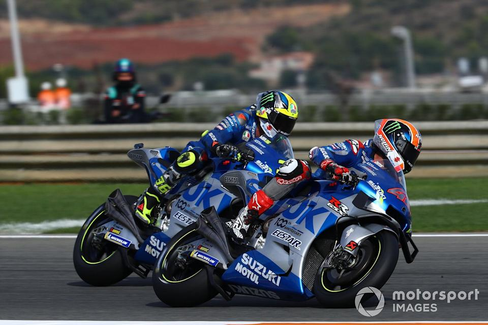 "Alex Rins, Team Suzuki MotoGP, Joan Mir, Team Suzuki MotoGP<span class=""copyright"">Gold and Goose / Motorsport Images</span>"