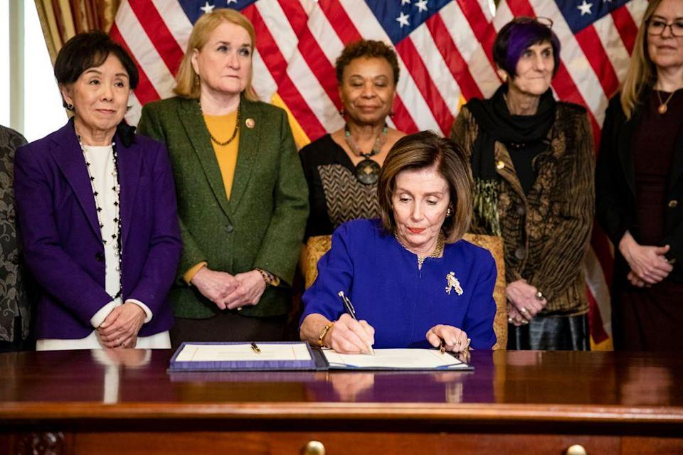<p>Speaker Pelosi signed the Coronavirus Emergency Response Package, which passed the House of Representatives with only three votes against it. </p>