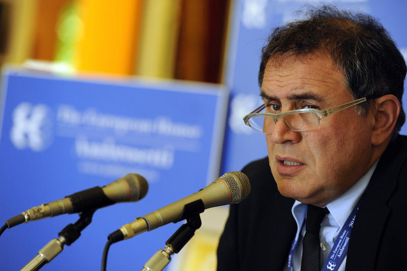American economist Nouriel Roubini speaks during a meeting on World Economy in Cernobbio, Italy, Friday, Sept. 7, 2012. Experts and leaders gathered in Italy to discuss the prolonged crisis in a structurally flawed Europe, political dysfunction pushing America off a 'fiscal cliff' and the emerging economies slowdown drying up the last engine of global growth. (AP Photo/Giuseppe Aresu)