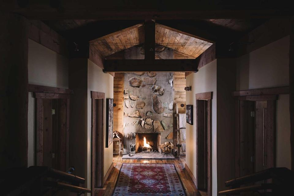 Fireplace at the spa at Sundance Mountain Resort