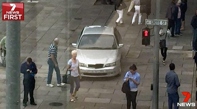 Pedestrians were unaware of the potential threat lurking in the vehicle. Photo: 7 News