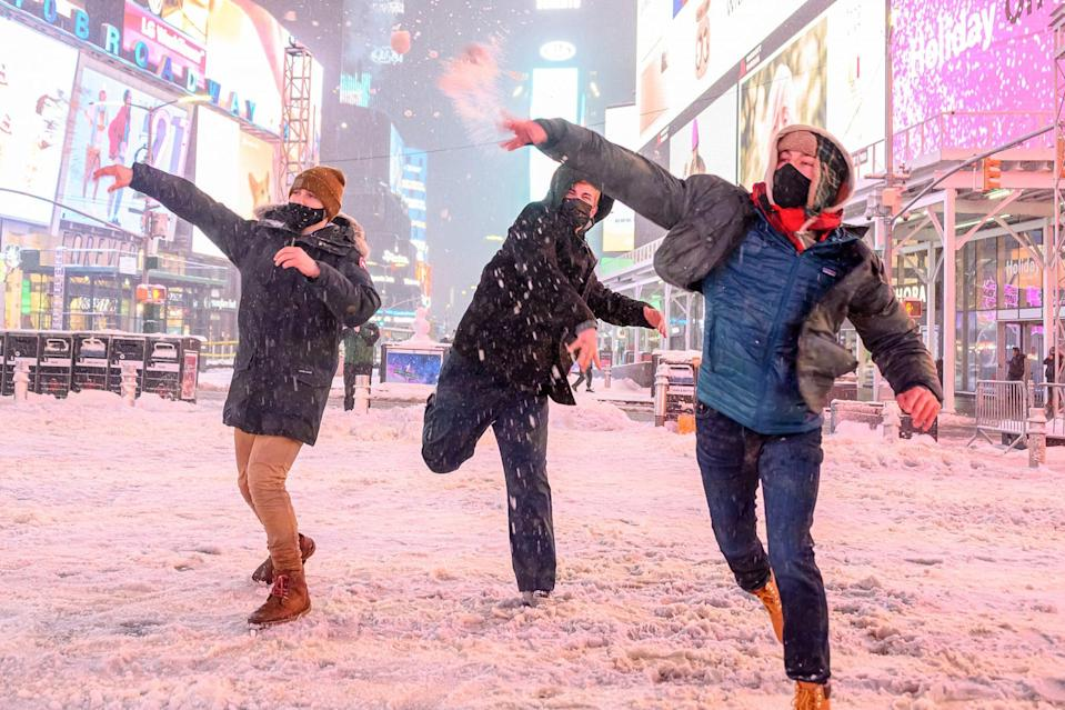 <p>An impromptu snowball fight in N.Y.C.'s Times Square.</p>