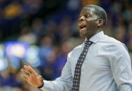 Bowling Green head coach Michael Huger instructs his team during first half against LSU in an NCAA college basketball game in Baton Rouge, La., Friday, Nov. 8, 2019. (AP Photo/Brett Duke)