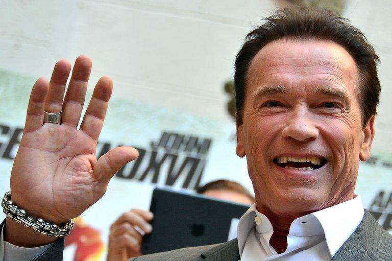 Austrian-born US actor Arnold Schwarzenegger promoting a film on January 25, 2013 in Rome