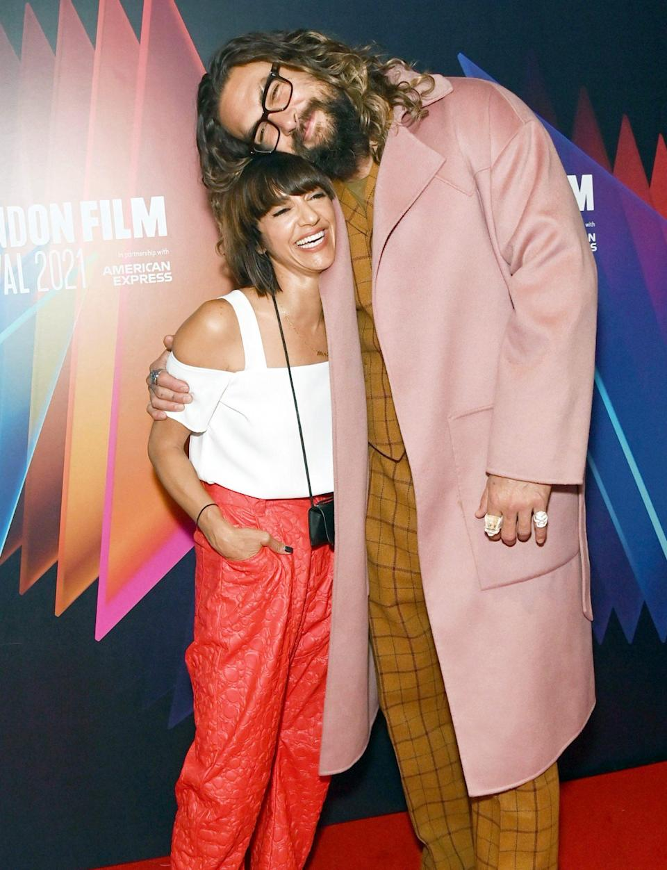 <p>Ana Lily Amirpour and Jason Momoa attend the U.K. premiere of <em>Mona Lisa and the Blood Moon</em> on Oct. 10 in London.</p>