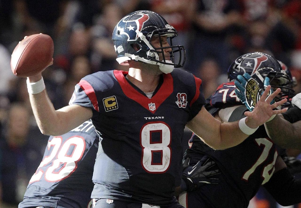 Houston Texans quarterback Matt Schaub throws a pass against the Jacksonville Jaguars in overtime at an NFL football game on Sunday, Nov. 18, 2012, in Houston. The Texans won 43-37. (AP Photo/Patric Schneider)