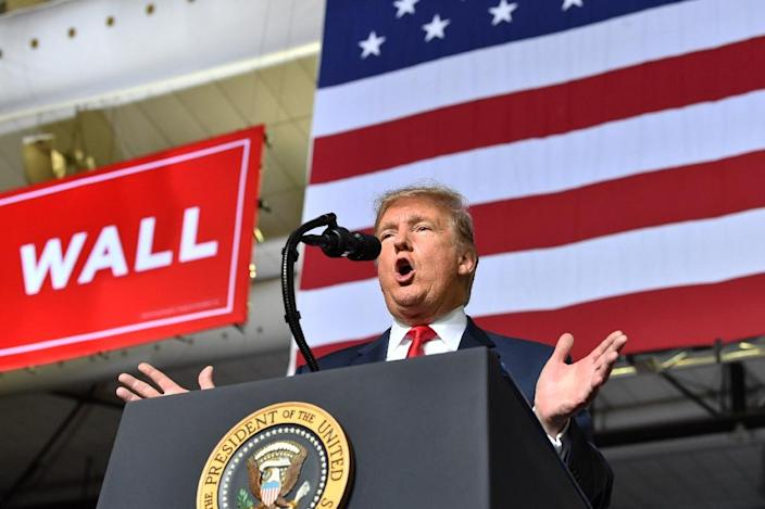 US President Donald Trump speaks during a rally in El Paso, Texas on February 11, 2019 (AFP Photo/Nicholas Kamm)